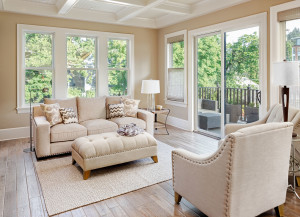45168974 - beautiful living room with hardwood floors in new luxury home